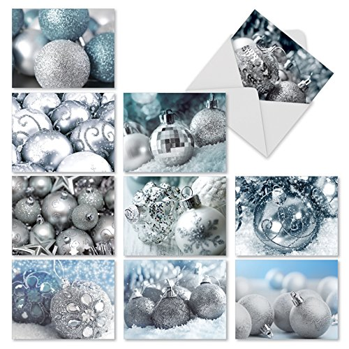 M2961 Visions In Silver: 10 Assorted Christmas Note Cards Featuring Pretty Images Of Silver-Colored Christmas Tree Ornaments, w/White Envelopes.