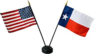 product image for Set of 3 4x6 E-Gloss Texas Stick Flag w/U.S. Stick Flag & 2 Flag Plastic Table Base - Proudly Made in The USA