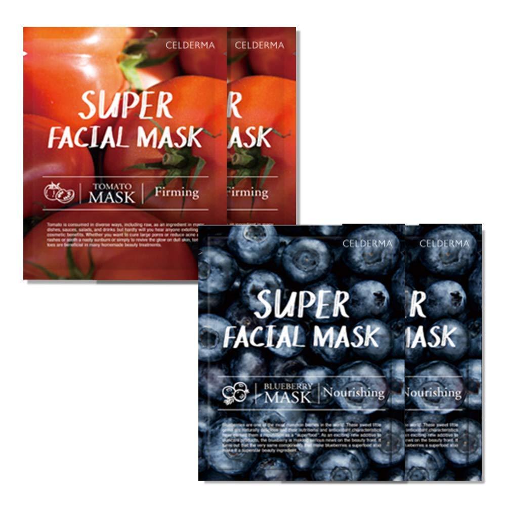 CELDERMA & PURETREE Super Facial Mask Bundle [4 pcs] Hydrating Korean Sheet Mask Pack Variety Bundle For Dry Skin