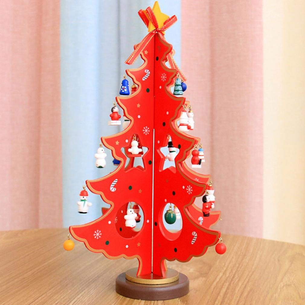 FENZL Christmas Tree Decor, Santa Snowman Wood Tree Toy Doll Gift for Children Kids (L, red)