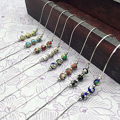 (Antique Tibetan silver bracelet national wind cloisonne beads bracelet anklet handmade classical filigree enamel jewelry)