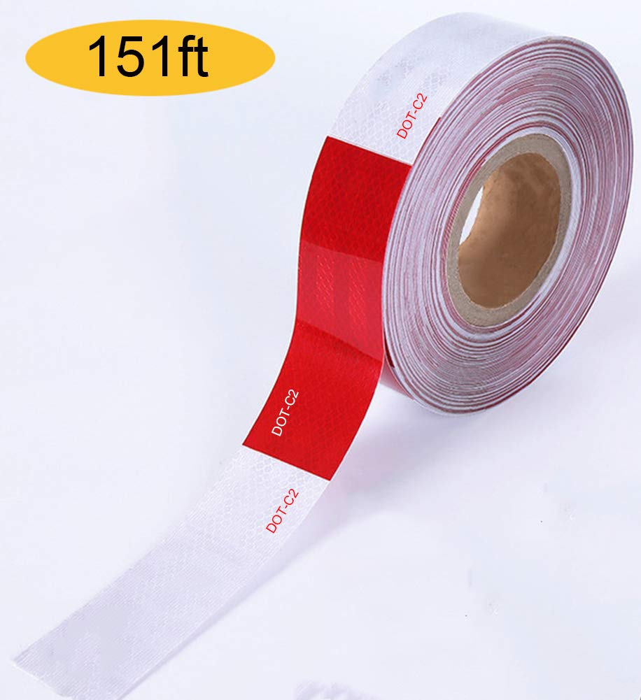 DOT-C2 Reflective Tape 2''x151' for Trailers,Cars Vehicles,Boats,Signs,Warning Red and White by Dirza