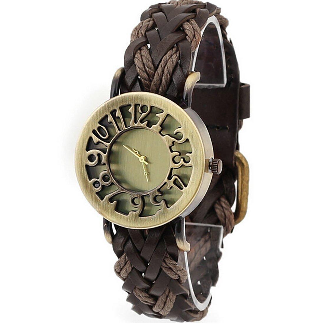 Amazon.com: 2016 Women Braided Leather Hollow Skeleton Dress Watches Quartz Watches Retro Vintage Bracelet Wristwatch Relogio Feminino Brown: Watches