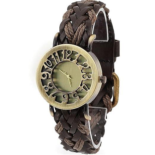 2016 Women Braided Leather Hollow Skeleton Dress Watches Quartz Watches Retro Vintage Bracelet Wristwatch Relogio Feminino