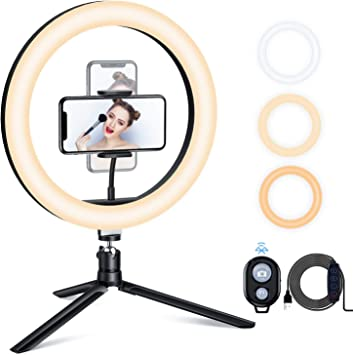 LED Camera Ring Light with Remote Shutter for Photography and YouTube Video,for iOS /& Android,26cmsilver Funiee 10 Selfie Ring Light with 50 Tripod Stand /& Phone Holder for Makeup Live Stream