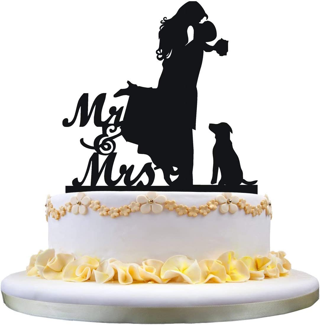 Amazon Com Cake Topper With Dog Pet Mr Mrs Bride And Groom Silhouette Funny Wedding Cake Topper Toys Games