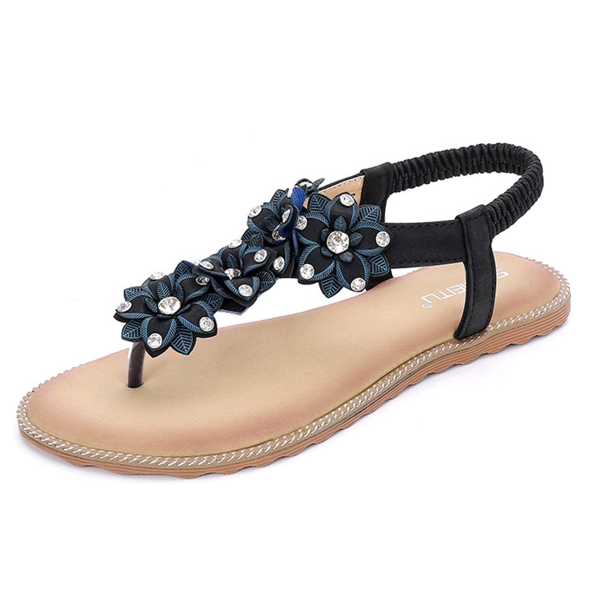 gracosy Damen Sandalen, Flip Flops Sommer Sandals Flach Zehentrenner T-Strap Offen Bouml;hmische Strand Schuhe  39 EU|Schwarz-b
