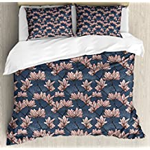 Flowers Duvet Cover Set King Size by Ambesonne, Pattern with Magnolia Flowers in Japanese Style Tender Asian Nature Garden, Decorative 3 Piece Bedding Set with 2 Pillow Shams, Dark Blue Coral