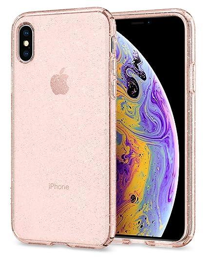 quality design 30141 e5328 Spigen Liquid Crystal Designed for Apple iPhone Xs Case (2018) / Designed  for Apple iPhone X Case (2017) - Glitter Rose Quartz