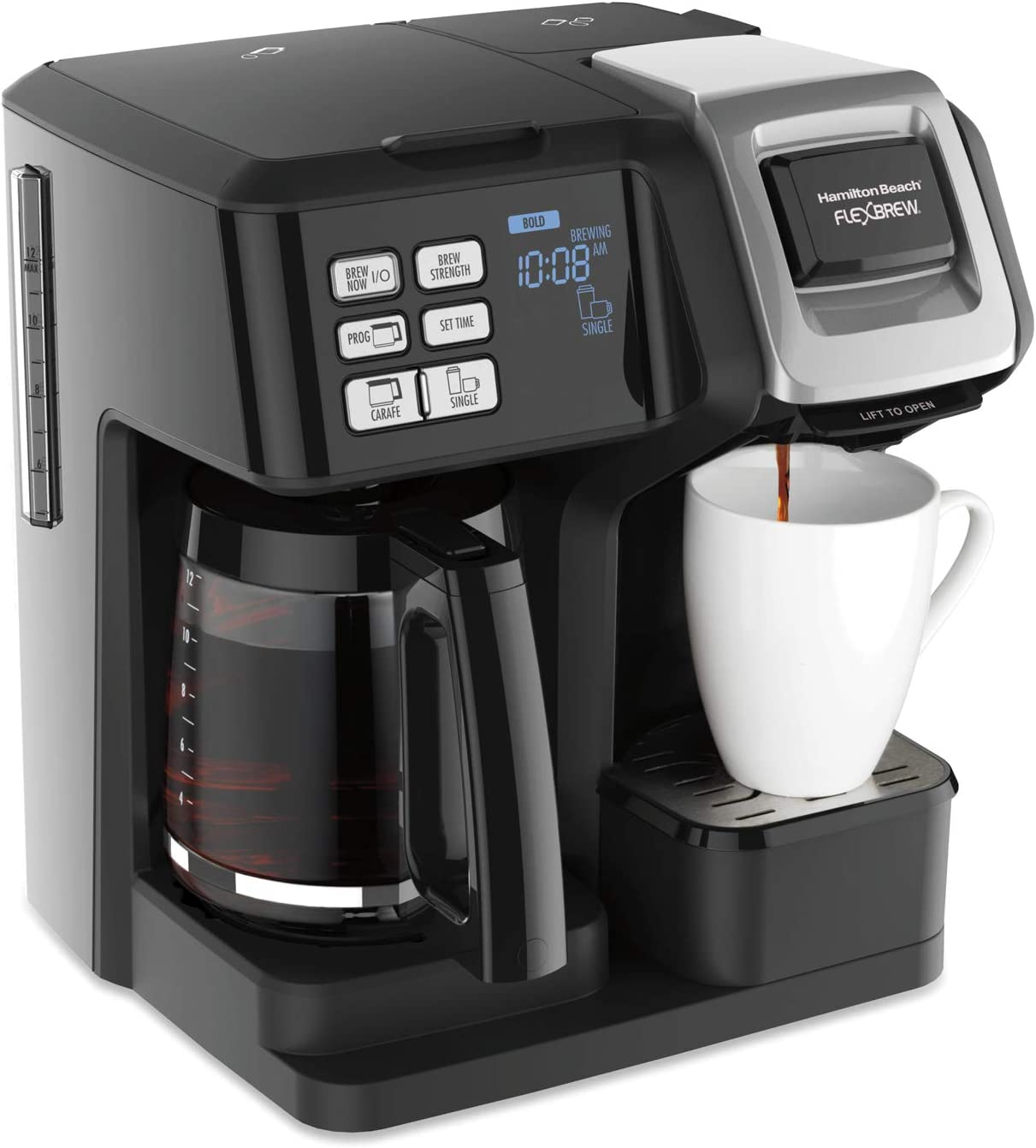 Hamilton Beach FlexBrew Trio Coffee Maker, 2-Way Single Serve & Full 12c Pot, Compatible with K-Cup Pods or Grounds, Combo, Black (49976)