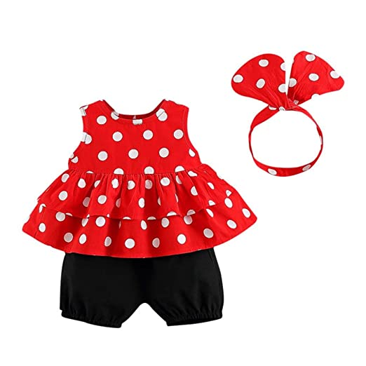 a59870ba349dbb WARMSHOP Girls Summer Outfits Clothes Polka Dots Print Sleeveless Tops+Solid  Shorts+Headband Clothes