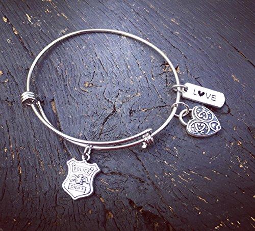 Police Officer Charm Bangle Bracelet | Police Officer Wife Bracelet | Police Officer Wife Jewelry | Police Officer Girlfriend Jewelry | Police Mom Gift (Jewelry Police)