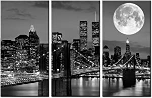 Biuteawal New York Skyline Wall Art Brooklyn Bridge Moon Night View Picture Canvas Print Black and White City Artwork Painting Modern Home Office Living Room Decoration