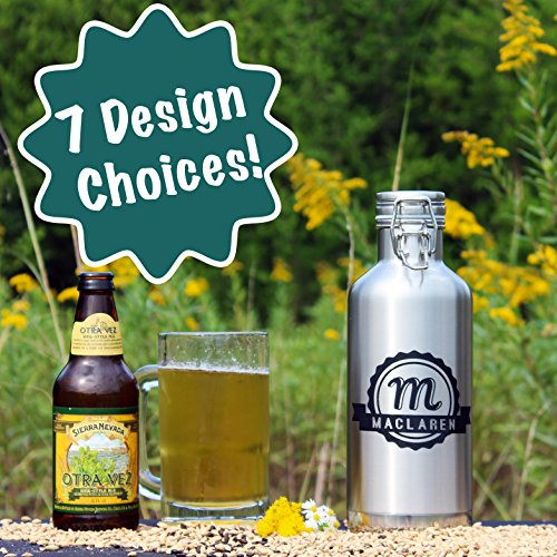 Personalized Etched Stainless Steel Insulated 32oz Beer Growler by Spotted Dog Company