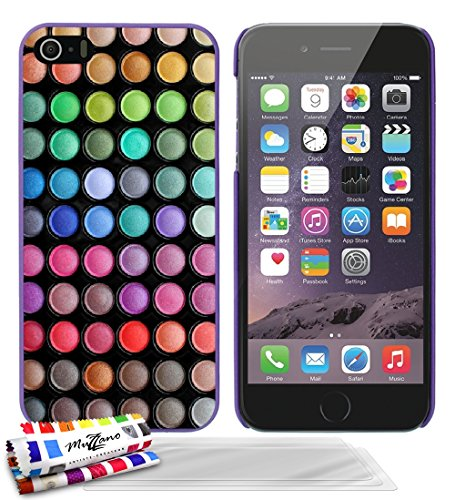 Ultraflache weiche Schutzhülle APPLE IPHONE 5S / IPHONE SE [Make Up] [Lila] von MUZZANO + 3 Display-Schutzfolien UltraClear + STIFT und MICROFASERTUCH MUZZANO® GRATIS - Das ULTIMATIVE, ELEGANTE UND LA