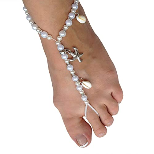 3f96f77a04509e Ivory Barefoot Sandals Beach Wedding Beaded Anklet with Starfish and Real  Seashells - Set of 2