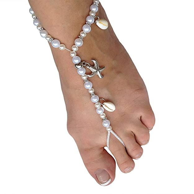 Ivory Barefoot Sandals Beach Wedding Beaded Anklet with Starfish and Real Seashells - Set of 2