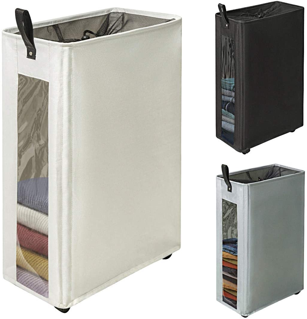 "ZERO JET LAG 27 inches Slim Laundry Hamper Large Tall Laundry Basket on Wheels Clear Window Visible Dirty Clothes Hamper Thin Clothes Storage Standable Corner Bin Handy 16""×8.6""×27"" Beige"