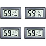 Eillet 4-Pack Small Thermometer Hygrometer, Digital Indoor Humidity Temperature Meter with LCD Display Temperature only in Celsius ℃ for Humidors Car Greenhouse Kitchen Cigar Room Babyroom