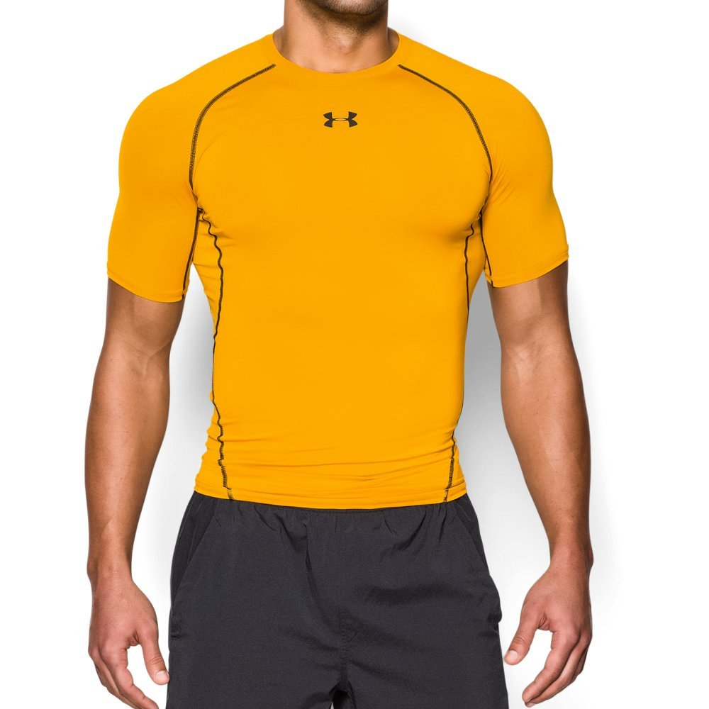 UNDER ARMOUR mens HeatGear Armour Short Sleeve Compression T-Shirt, Steeltown Gold (750)/Black, 3X-Large by Under Armour