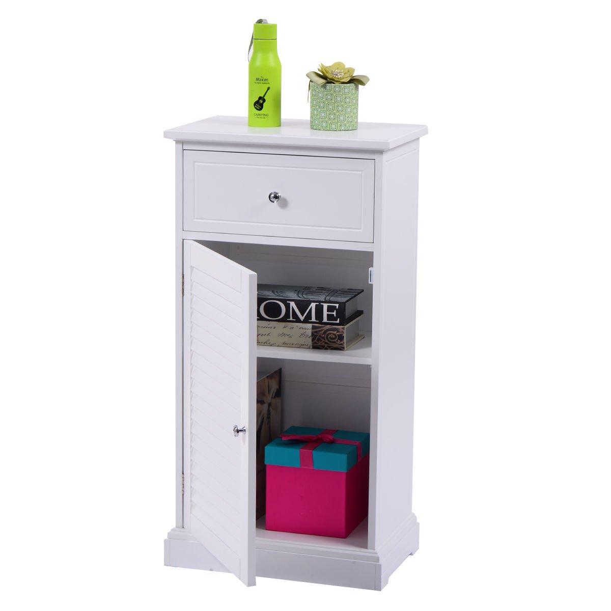 New White Cabinet Wall Shutter Door Bathroom Organizer Cupboard Shelf White Storage Floor