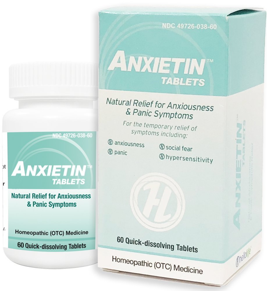 HelloLife Anxietin Tablets - Anxiousness & Panic Symptom Relief - for The Safe, Temporary Relief of: Episodes of Fearfulness + Nervousness + Worry + Hypersensitivity + Social Fear + Panic by Hello Life