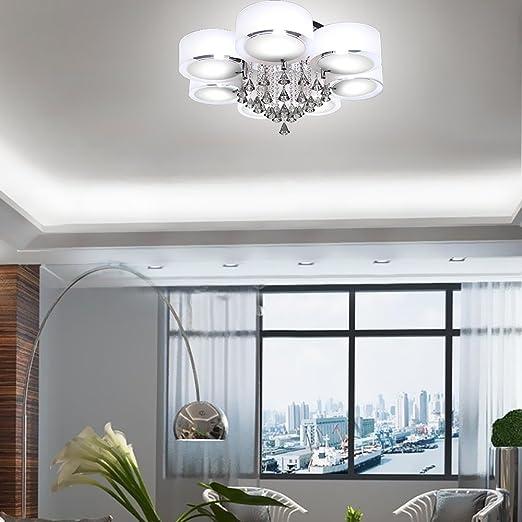 Yorbay LED Kristall Deckenleuchte Deckenlampe E27 RBP Licht Mit Fernbedienung Fr Wohnzimmer Esszimmer 7 Flammig Amazonde Beleuchtung