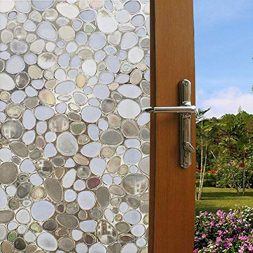 Window Film Non Adhesive Frosted Film Privacy Window Sticker Self Static Cling Vinly Glass Film Anti UV Decorative for Home Office Cobblestone 17.7 Inch x 6.5 Feet