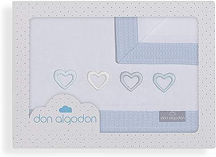 Don Algodón Sábanas Minicuna Cuore Blanco Azul: Amazon.es: Bebé