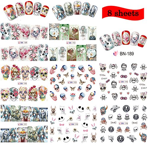 Lookathot 8/24 Sheets Nail Art Stickers Decals Skull Mixed Styles Nail DIY Decoration Tools Christmas Halloween (B(8 sheets))]()