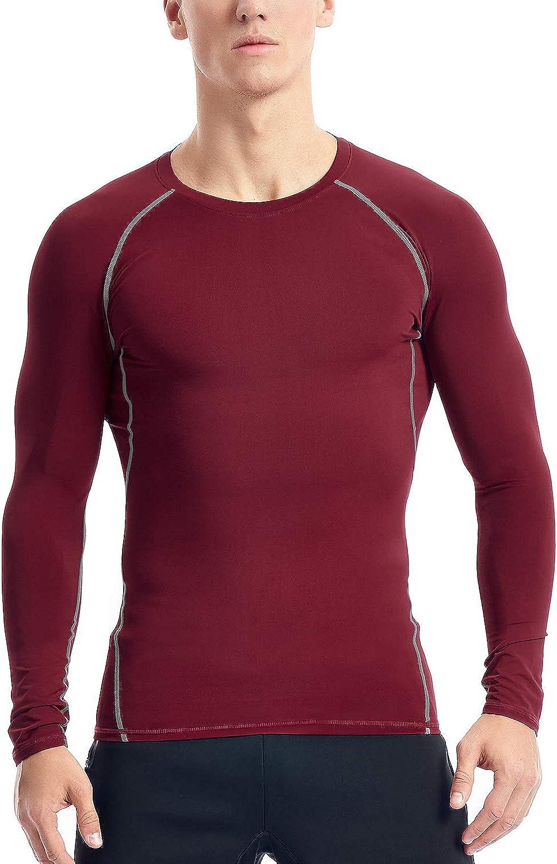Zengjo Mens Athletic Compression Long Sleeve Baselayer Workout/Shirt