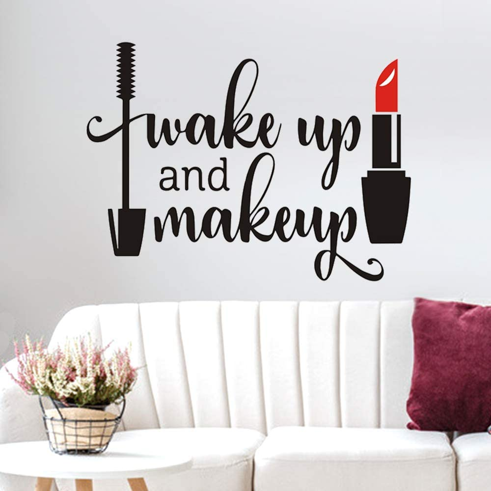 Wake up and Make up Quote Wall Decal Sticker, AUHOKY Unique Art Words Peel and Stick Space Wall Stickers, Removable DIY Mural Decor Wallpaper for Dressing Room Girls Bedroom