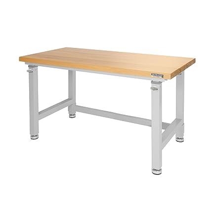 UltraHD Adjustable Height Heavy Duty Wood Top Workbench, 48u0026quot; ...