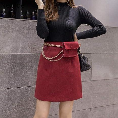 Falda De Invierno,Borgoña Coreano Otoño Invierno Outwear Hip Una ...