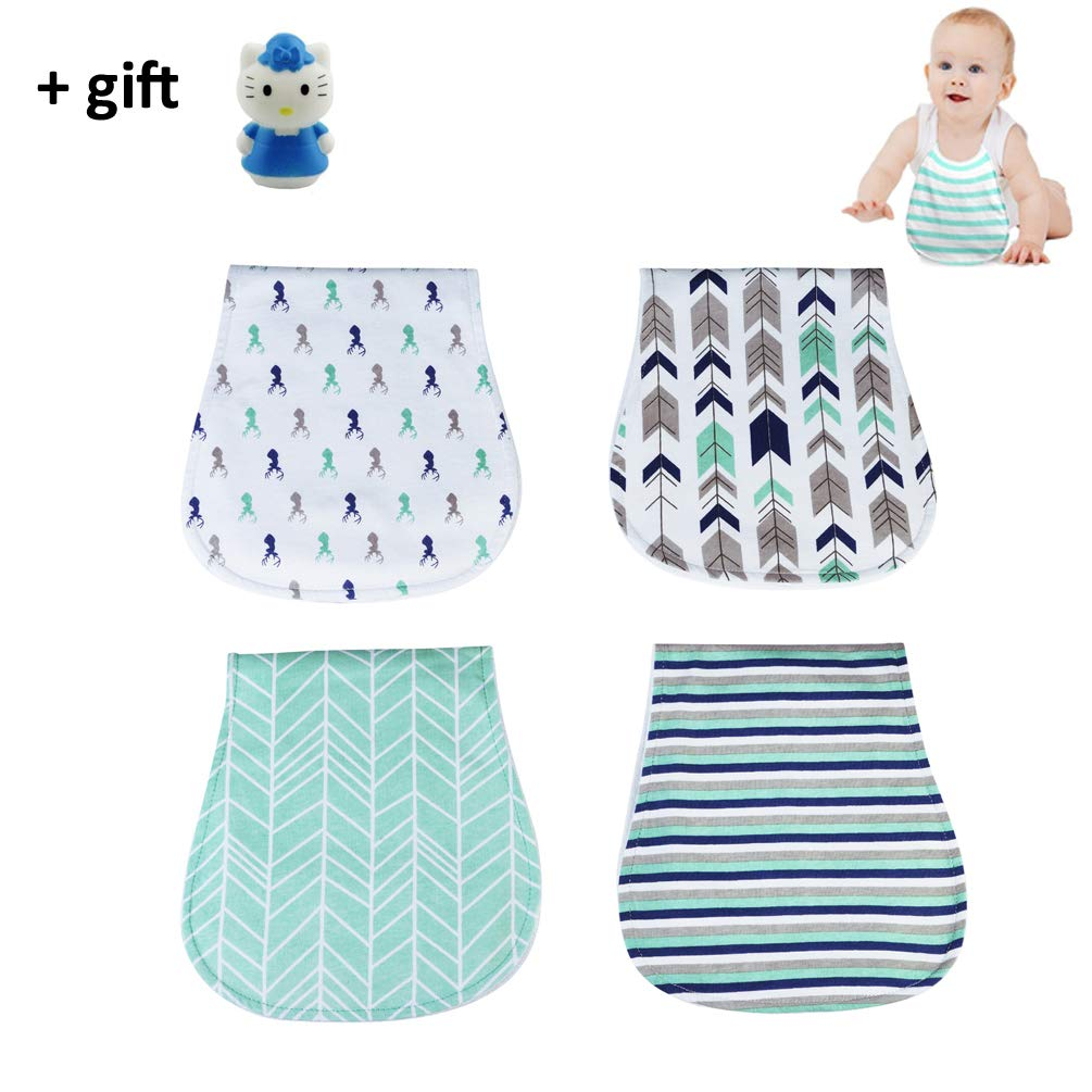 Baby Burping Rags Triple Layer Absorb Water Well Burp Cloths for Boys Girls wit 4 Pack by Belivo