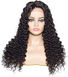 UNice Bettyou Series Deep Wave Lace Front Human Hair Wigs Free Part Brazilian Remy Human Hair Wig for Women Natural Hairline (20 inch, Natural Color)