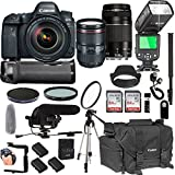 Canon EOS 6D Mark IIWith 24-105mm f/4 L IS II USM + 75-300mm III Lenses + 128GB Memory + Canon Camera Bag + Pro Battery Bundle + Power Grip + Microphone + TTL SpeedLight + Pro Filters,(24pc Bundle)