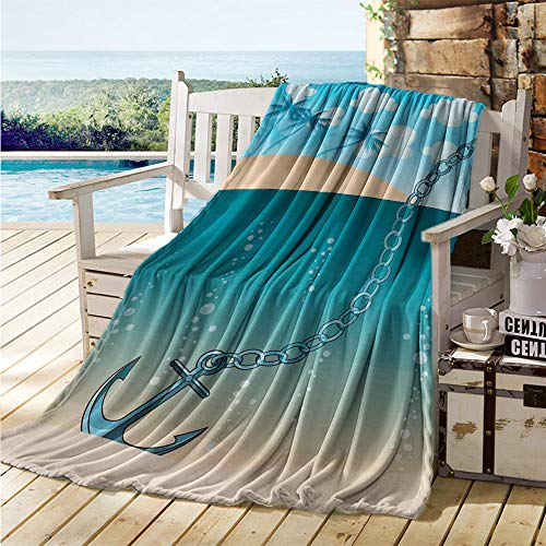 maisi Anchor Throw Blanket Hawaiian Beach Scenery with Palms and Ship Anchor in The Water Near Tropic Island Soft Blanket Microfiber Blue Cream
