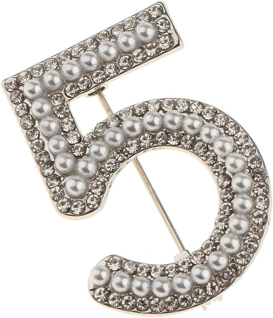 Homyl Broche Cristal Strass Vintage Forme de 5 Pin de S/écurit/é Bijoux Mode