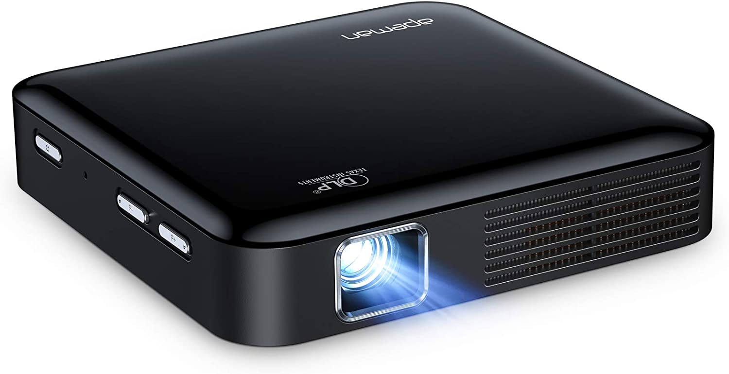 Mini Projector, APEMAN Pocket DLP Portable Projector, Support 1080P, Electronic ±40° Keystone, Touchpad Control, for Home and Outdoor Movie, Compatible with Phone, Rechargeable Battery, with Tripod