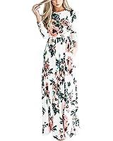 YUMDO Women's Floral Print Tank Casual Stretch Maxi Long Dress