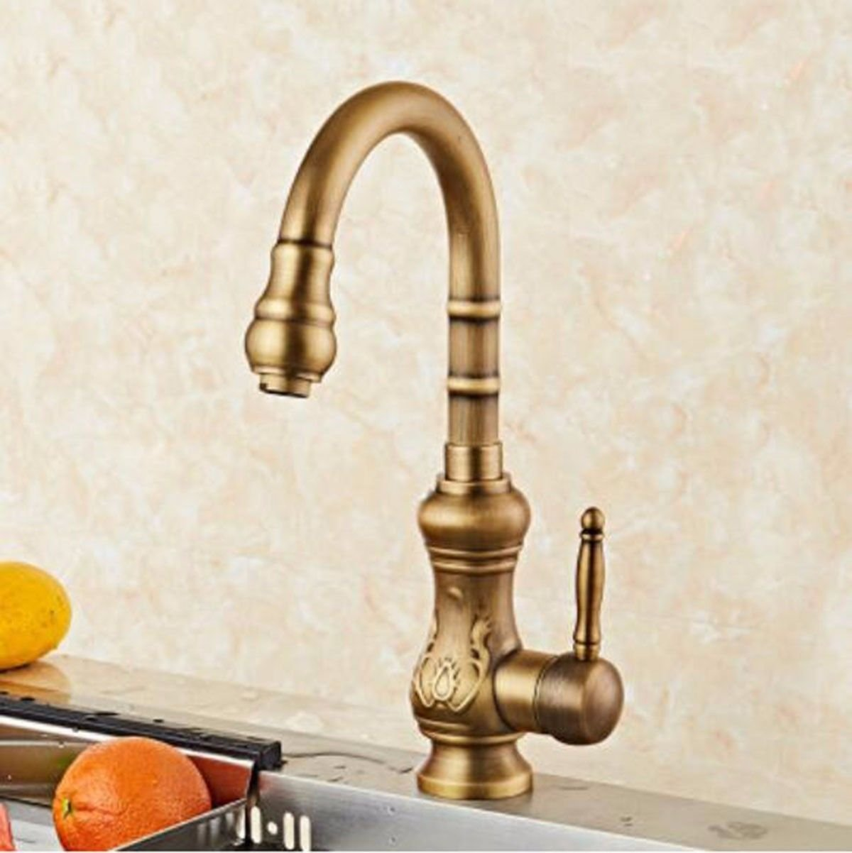 H Oudan Basin Mixer Tap Bathroom Sink Faucet Euro-copper antique kitchen faucet hot and cold retro American dish washing basin basin redation single handle sink tap E (color   A)