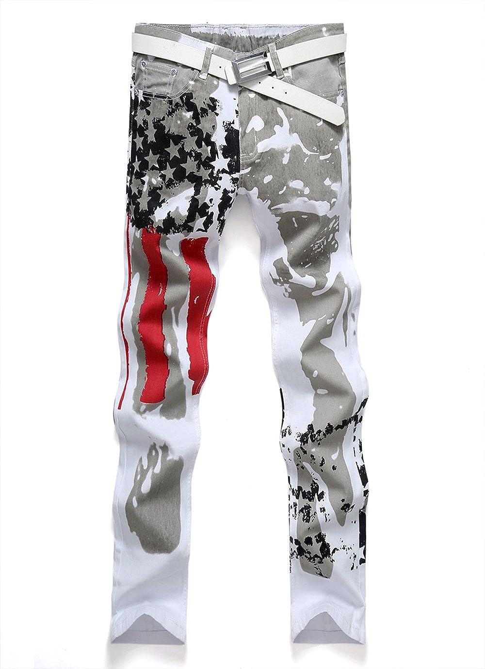 Vdual Pantalones causales de impresión de la Bandera de la Moda de los Hombres Pantalones Vaqueros del pantalón de Demin: Amazon.es: Ropa y accesorios