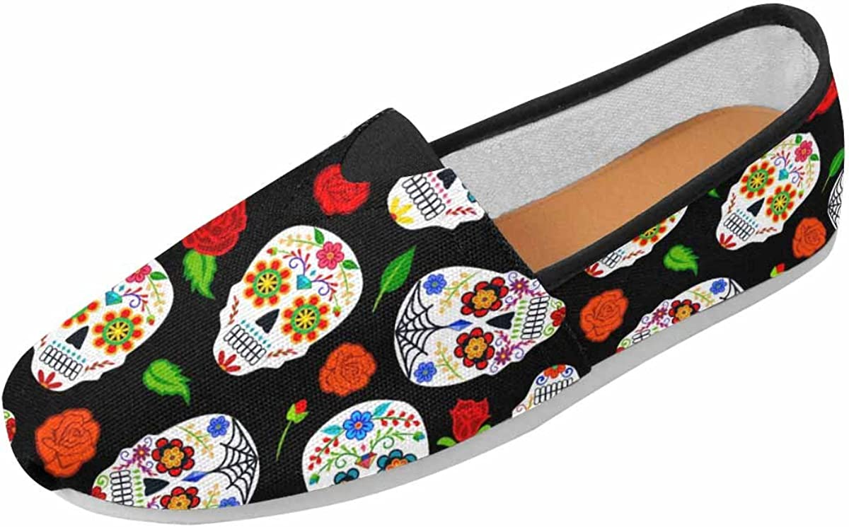 InterestPrint Women's Classic Flats Comfort Flat Slip-On Loafer Sneaker Shoes Sugar Skulls Roses