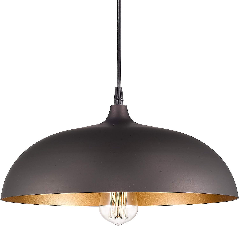 Amazon Com Emliviar Farmhouse Pendant Light Fixture 1 Light Industrial Hanging Light With 14 Metal Dome Shade Oil Rubbed Bronze 1901m Orb Home Improvement