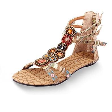 Ouneed® Frauen böhmische Art Reißverschluss Ebene Schuhe Kederleiste beiläufige geöffnete Zehe Sandalen Damen Erwachsene Zehentrenner (39, Schwarz)
