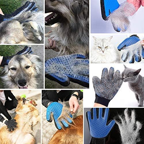 Guante de aseo para mascotas, 2 unidades, actualizado 259 suave removedor de pelo de mascotas, suave cepillo de deshedding herramienta de deshedding para gatos y perros – eficiente guante removedor de pelo de mascotas 7