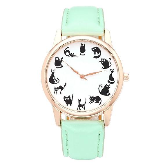 Reloj de cuarzo JSDDE para mujer, con diseño divertido de gatos, caja