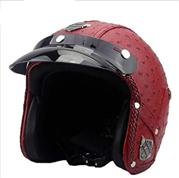 HOEMKUY Casco Moto in Pelle sinteticRetrò Vintage Cruiser Chopper Scooter Cafe Racer Casco Moto Bos Leather