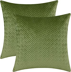 """Artcest Set of 2, Decorative Velvet Bed Throw Pillow Case, Sofa Soft Quilted Pattern, Comfortable Couch Cushion Cover, 18""""x18"""" (Moss Green)"""